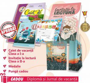 PACHET 11 PREMIERE CLASA I - CAIET DE VACANTA + INVITATIE LA LECTURA CLASA a II-a (DIPLOMA + JURNALUL VACANTEI MELE CADOU) + MEDALIE + PUNGA CADOU