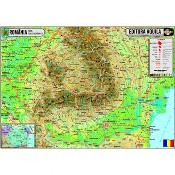 Harta Fizica si administrativa a Romaniei - 120 x 160 cm (Aquila)
