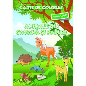 Carte de colorat cu abtibilduri. Animale din savana si din padure (Ars Libri)