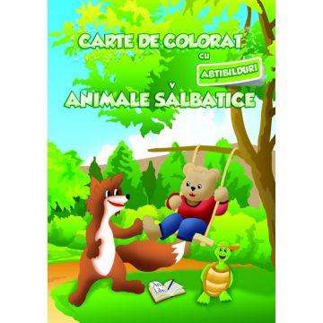 Carte de colorat cu abtibilduri. Animale salbatice (Ars Libri)