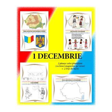 Set Planse 1 Decembrie (2 planse A4 plastifiate (cu suport magnetic) + 2 fise de lucru A4 (Caba)