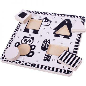 BigJigs Puzzle alb-negru - animale si forme