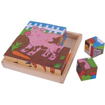 BigJigs Puzzle cubic - Animalute de la ferma