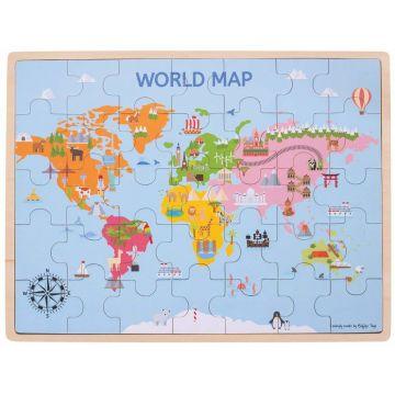 BigJigs Puzzle din lemn - Harta lumii (35 piese)