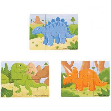 BigJigs Set 3 puzzle din lemn - Dinozauri