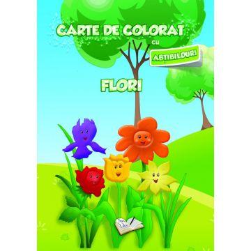 Carte de colorat cu abtibilduri. Flori (Ars Libri)