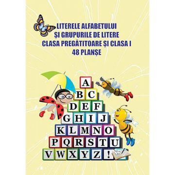 Literele alfabetului si grupurile de litere - Clasa pregatitoare si clasa I - 48 planse