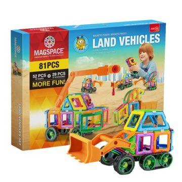Magspace 81 Piese - Land Vehicles - Joc Magnetic Educativ de Constructie 3D