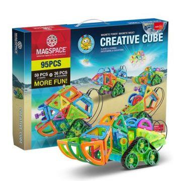Magspace 95 Piese - Creative Cube - Joc Magnetic Educativ de Constructie 3D cu telecomanda si motor