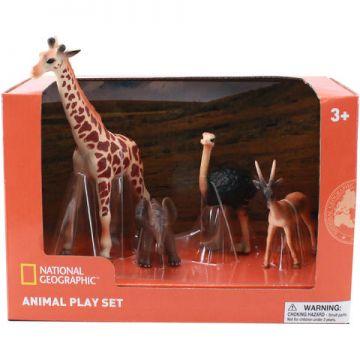 National Geographic Set 4 figurine - Girafa, Elefantel, Strut si Antilopa