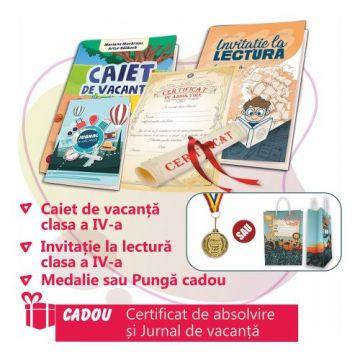 PACHET 4 PREMIERE CLASA A IV-A - CAIET DE VACANTA + INVITATIE LA LECTURA + MEDALIE sau PUNGA CADOU (DIPLOMA + JURNALUL VACANTEI MELE CADOU)