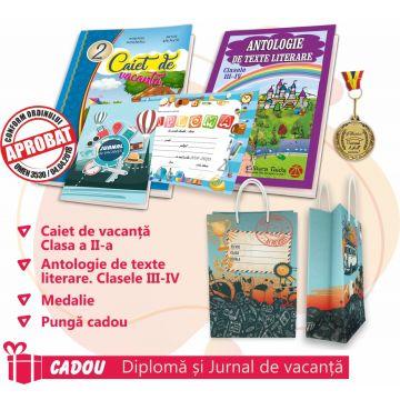 PACHET 8 PREMIERE CLASA A II-A - CAIET DE VACANTA + ANTOLOGIE DE TEXTE LITERARE CLASELE III-IV + MEDALIE + PUNGA CADOU (CADOU DIPLOMA+JURNALUL VACANTEI MELE)