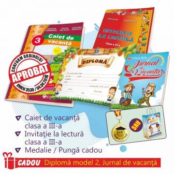 PACHET 4 PREMIERE CLASA A III-A - CAIET DE VACANTA + INVITATIE LA LECTURA + MEDALIE (DIPLOMA + JURNALUL VACANTEI MELE CADOU)