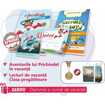 PACHET 4 PREMIERE CLASA PREGATITOARE - CAIET DE VACANTA + LECTURI DE VACANTA + MEDALIE (DIPLOMA + JURNALUL VACANTEI MELE CADOU)