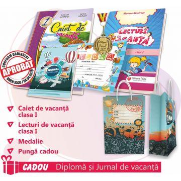 PACHET 8 PREMIERE CLASA I - CAIET DE VACANTA + LECTURI DE VACANTA + MEDALIE + PUNGA CADOU (DIPLOMA + JURNALUL VACANTEI MELE CADOU)