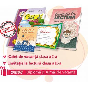 PACHET 9 PREMIERE CLASA I - CAIET DE VACANTA + INVITATIE LA LECTURA CLASA a II-a (DIPLOMA + JURNALUL VACANTEI MELE CADOU)