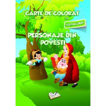 Carte de colorat cu abtibilduri. Personaje din poveste (Ars Libri)