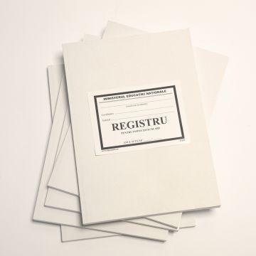 Registru inventar grafica, fotografii, harti, atlase, documente audio vizuale-Coperta carton subtire (duplex), culoare alba