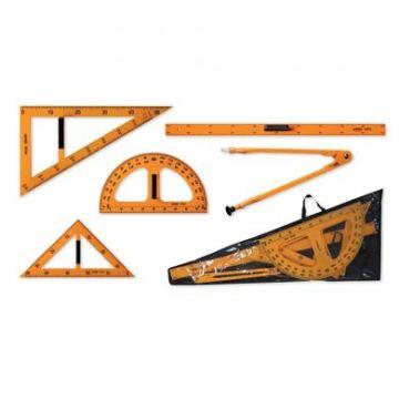 Trusa geometrie pentru tabla scolara creta cu husa pentru transport