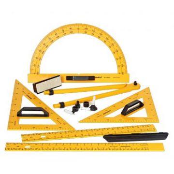 Trusa geometrie pentru tabla scolara creta/marker cu geanta