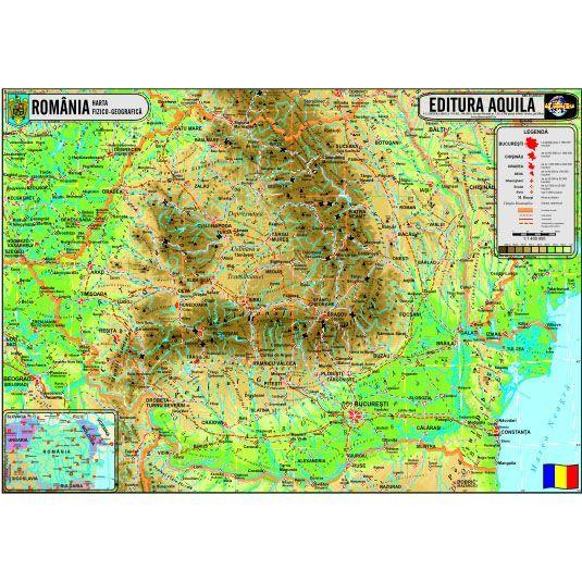 Harta Fizica Si Administrativa A Romaniei Format 70 X 100 Cm Aquila