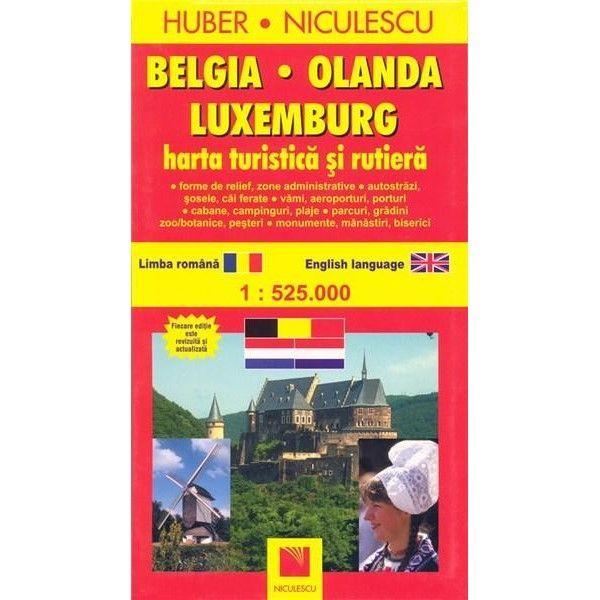 Belgia Olanda Luxemburg Harta Turistica Si Rutiera